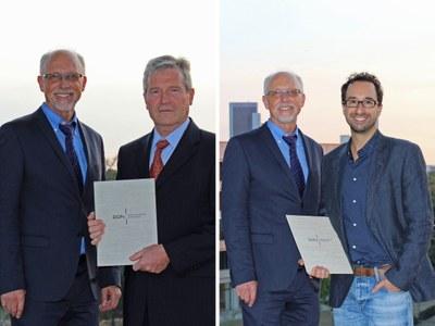 Professor Dr. Manfred Schmitt (li.) und Professor Dr. Benjamin E. Hilbig wurden von der Deutschen Gesellschaft für Psychologie ausgezeichnet. Foto: DPGs