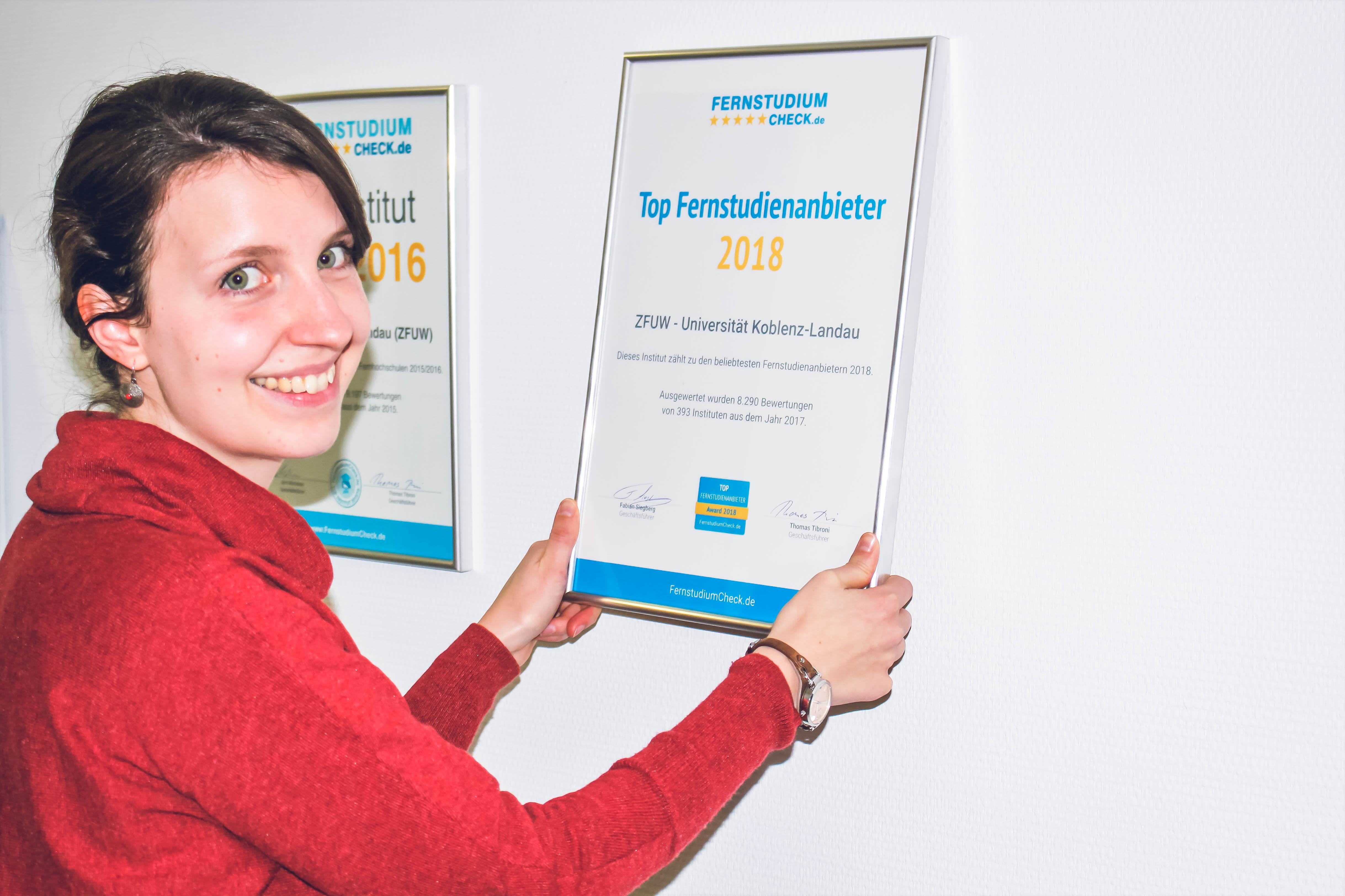 Das ZFUW belegt den zweiten Platz beim FernstudiumCheck Award 2018