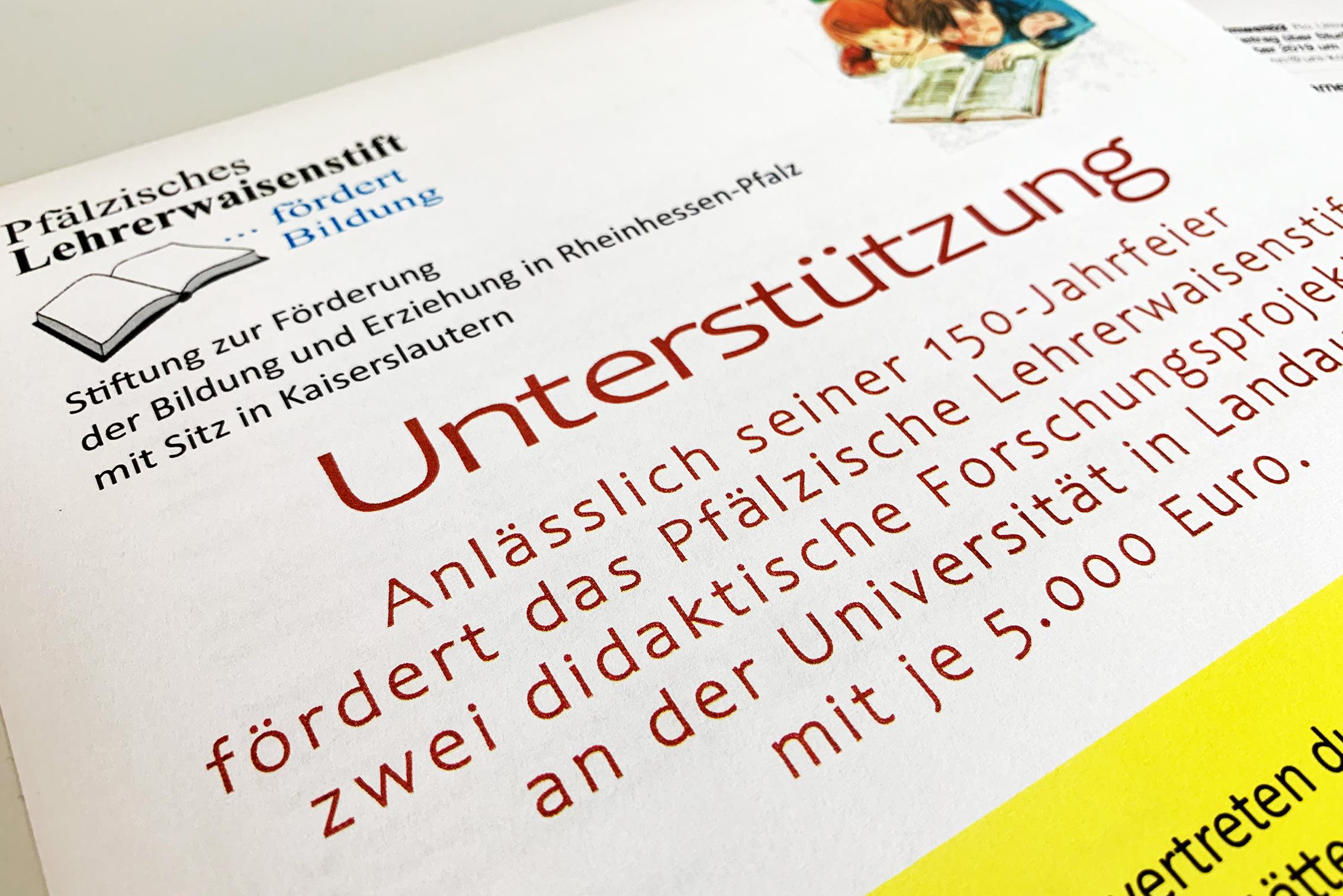 Pfälzisches Lehrerwaisenstift fördert zwei Forschungsprojekte am Campus Landau