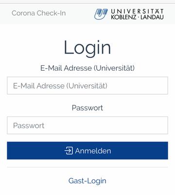 Screenshot: Login zum Online-Check-in, Loggen Sie sich mit Ihrer Uni-E-Mail-Adresse ein. Überprüfen Sie die Angaben zur Veranstaltung und klicken Sie Check-in.