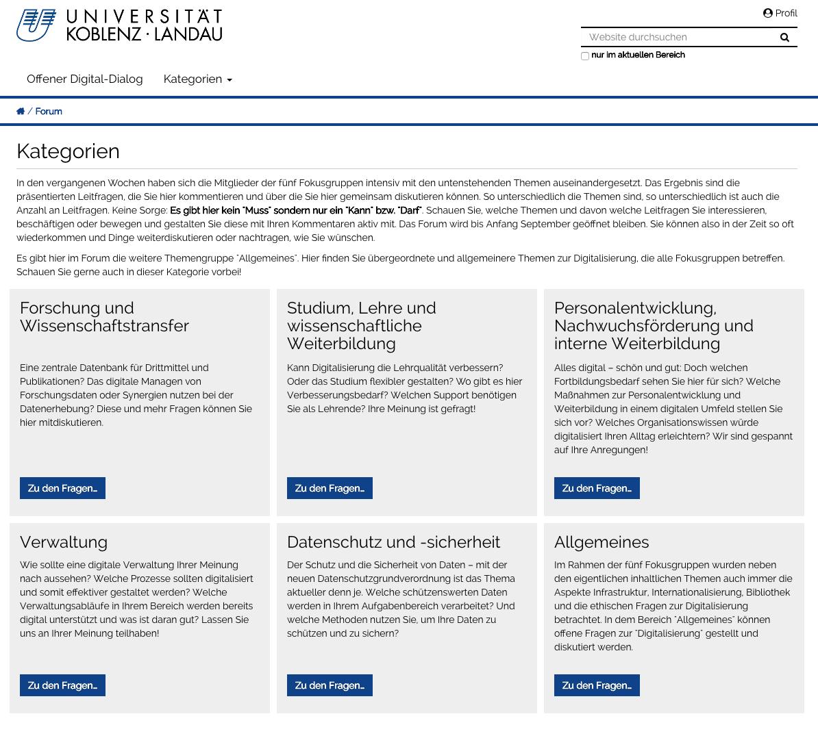 Screenshot vom Offenen Digital-Dialog der Universität Koblenz ·Landau