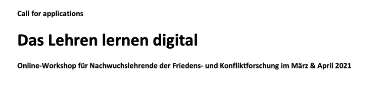 Call for Applications: Das Lehren lernen digital