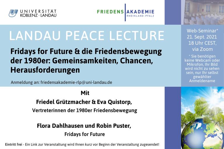 Landau Peace Lecture: Fridays for Future & die Friedensbewegung der 1980er: Gemeinsamkeiten, Chancen, Herausforderungen
