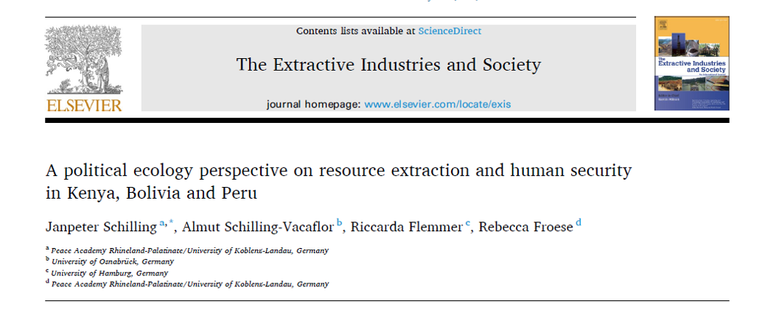 New Publication: A political ecology perspective on resource extraction and human security in Kenya, Bolivia and Peru