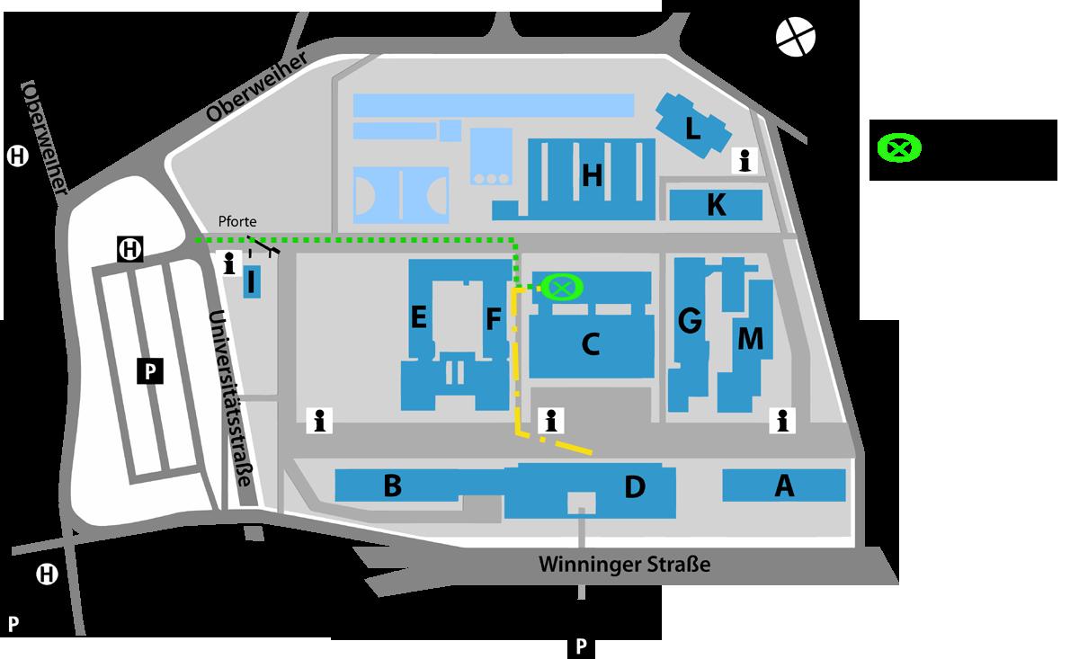 Campusplan mit markiertem mLab