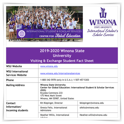 WSU Fact Sheet 2019/2020