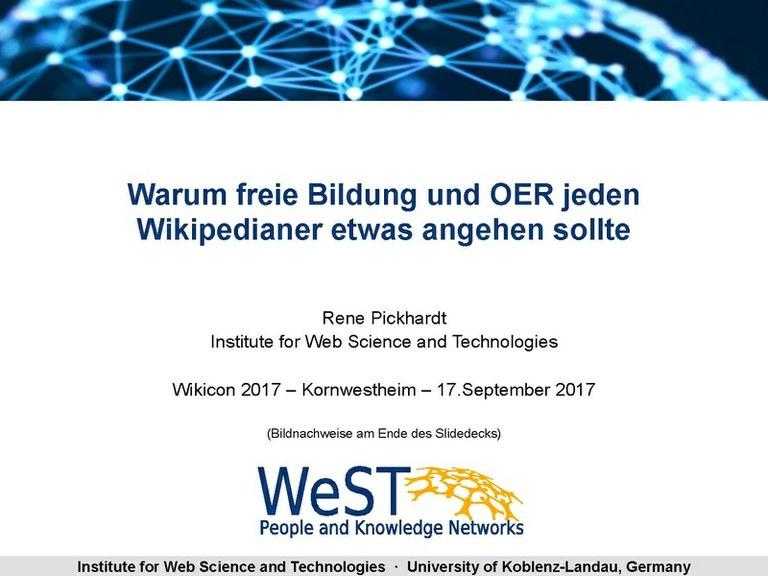 René Pickhardt vom Institute WeST ist Keynote-Redner auf der WikiCon zu Open Educational Resources