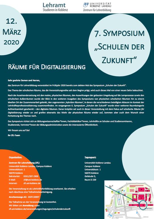 Flyer Symposium Schulen der Zukunft 2020 (Bildschirmansicht)