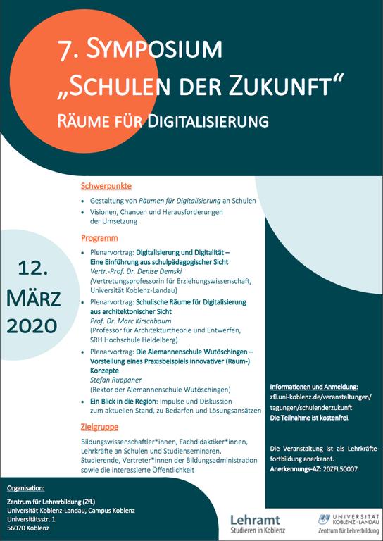 Plakat Symposium Schulen der Zukunft 2020