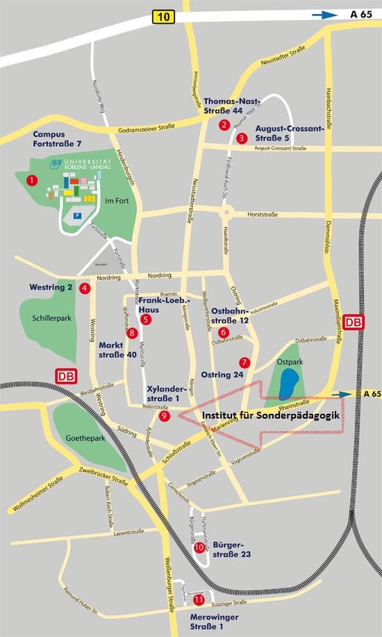 Lageplan Institut für Sonderpädagogik