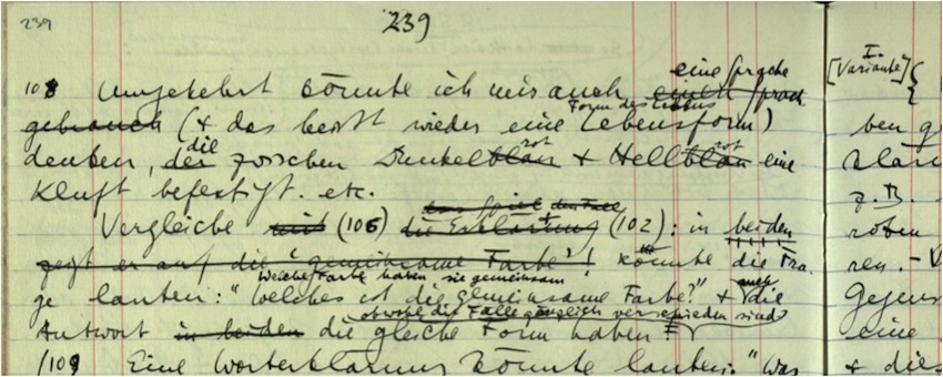 Ludwig Wittgenstein - Ms-115,[239_f] - CC BY-NC 4.0. With the kind permission of The Master and Fellows of Trinity College, Cambridge, and the University of Bergen, Bergen.