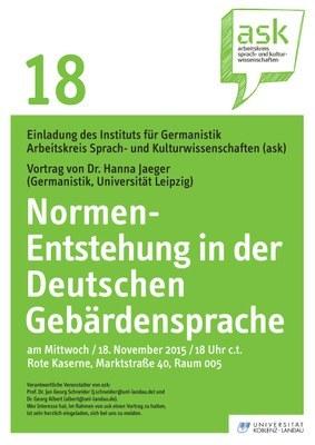 """Ask Vortrag: Dr. Hanna Jaeger """"Normen-Entstehung in der Deutschen Gebärdensprache"""""""