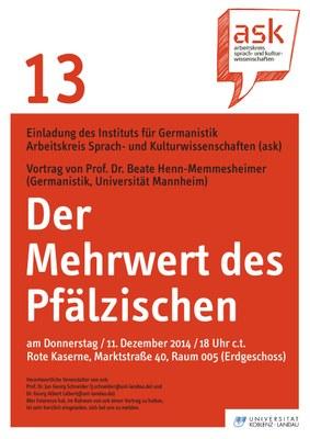 """Ask Vortrag: Prof. Dr. Beate Henn-Memmesheimer """"Der Mehrwert des Pfälzischen"""""""