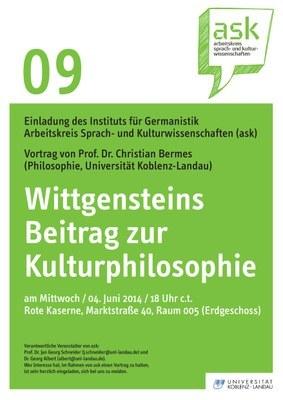 "Ask Vortrag: Prof. Dr. Christian Bermes ""Wittgensteins Beitrag zur Kulturphilosophie"""
