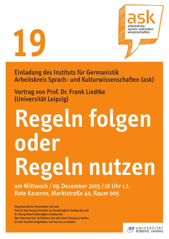 "Ask-Vortrag: Prof. Dr. Frank Liedtke ""Regeln folgen oder Regeln nutzen"""