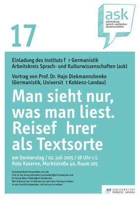 """Ask Vortrag: Prof. Dr. Hajo Diekmannshenke """"Man sieht nur, was man liest. Reiseführer als Textsorte"""""""
