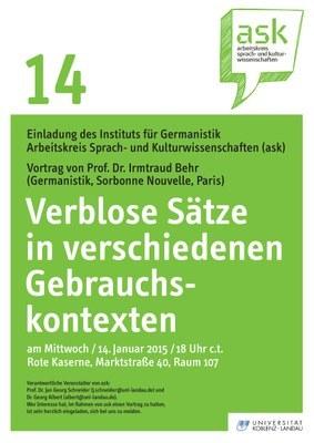 """Ask Vortrag: Prof. Dr. Irmtraud Behr """"Verblose Sätze in verschiedenen Gebrauchskontexten"""""""