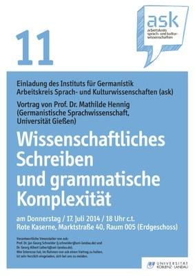 """Ask Vortrag: Prof. Dr. Mathilde Hennig """"Wissenschaftliches Schreiben und grammatische Komplexität"""""""