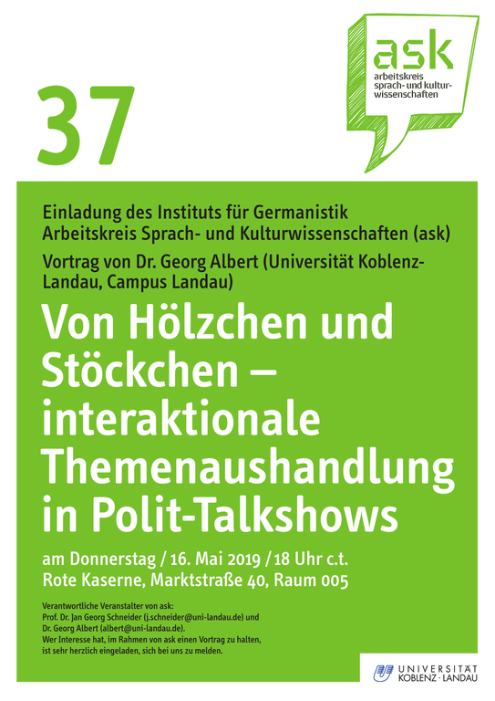 ASK-Vortrag von Georg Albert zur interaktionalen Themenaushandlung in Polit-Talkshows
