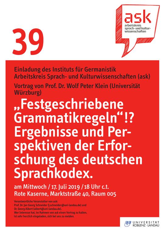ask-Vortrag von Prof. Dr. Wolf Peter Klein (Würzburg)