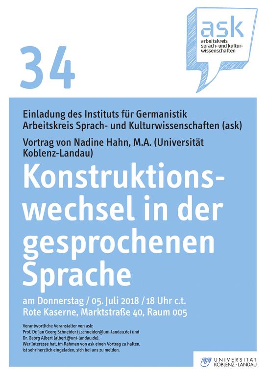 """ask-Vortrag von Nadine Hahn """"Konstruktionswechsel in der gesprochenen Sprache"""""""