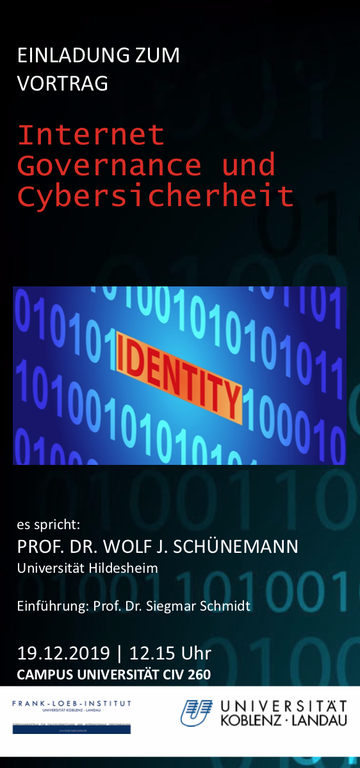 """Veranstaltungshinweis: Vortrag zum Thema """"Internet - Governance und Cybersicherheit"""" am Donnerstag, 19.12.2019"""