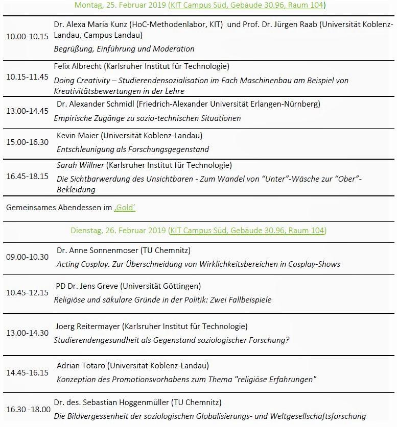 Kolloquium WiSe 2018/2019 Programm Screenshot