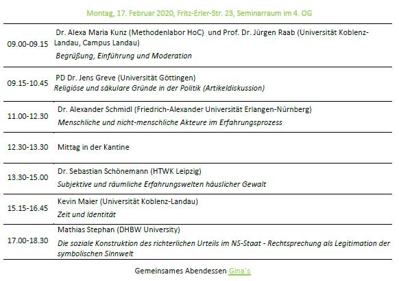 Kolloquium WiSe 19/20 Programm Montag