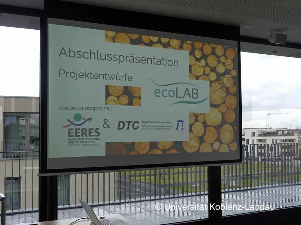 Präsentation der ecoLAb-Entwürfe von Studierenden der TU Kaiserslautern in Kooperation mit Jun.-Prof. Dr. C. Robeller