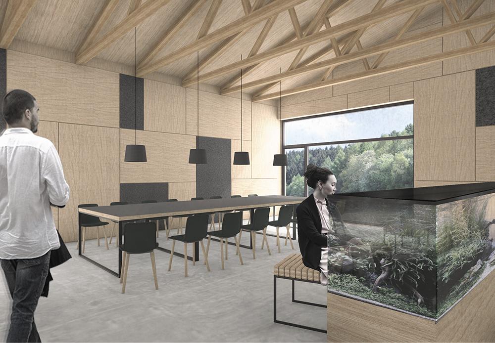 Geplanter Seminarraum des neuen Forschungsgebäudes ecoLAB (Marc Betz Architekten)