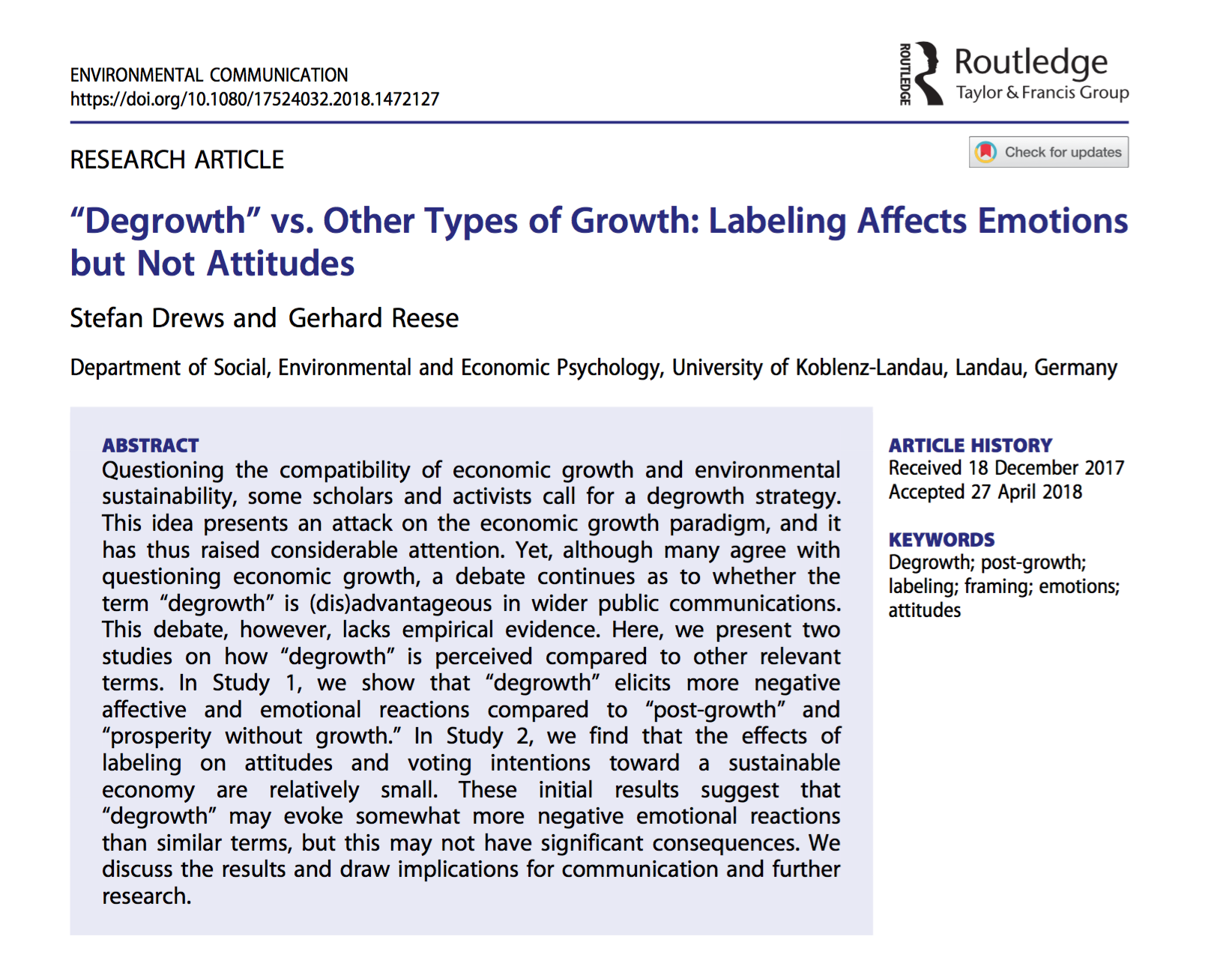 """Degrwoth"" vs. Other Types of Growth: Labeling Affects Emotions but Not Attitudes"