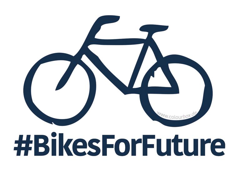 Hier sehen Sie ein Bild mit einem Fahrrad und dem Hashtag #bikesforfuture.Bildrechte: www.colourbox.de