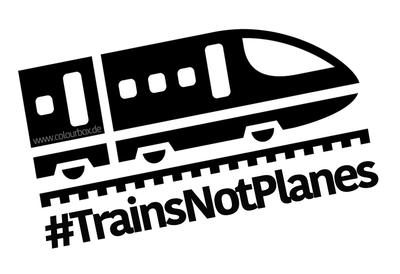 Ein Bild auf dem Ein Zug  abgebildet ist und der Hashtag #TrainsNotPlanesBildrechte: www.colourbox.de