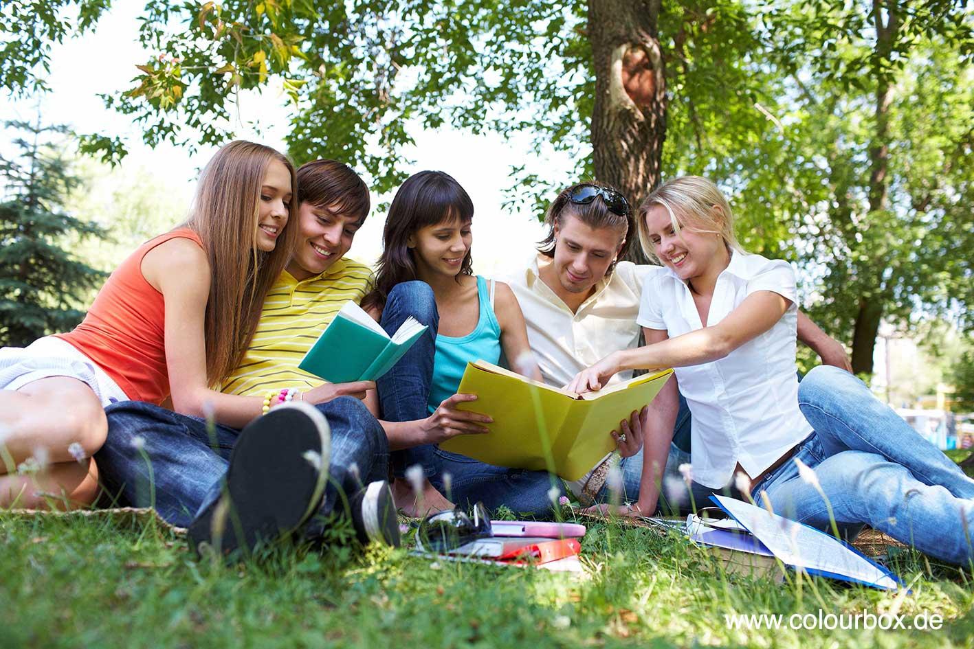 Hier sehen Sie ein Gruppe Studierender bei der Lektüre.