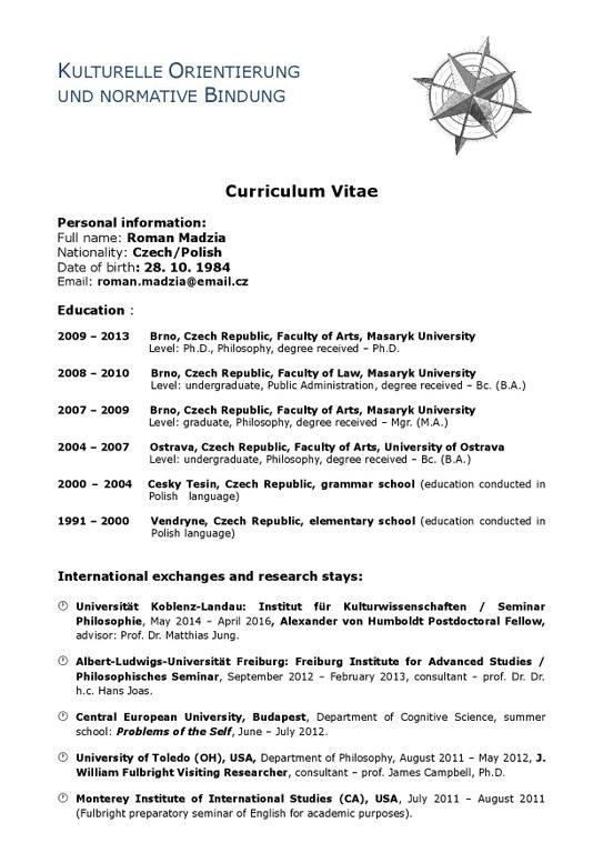 Lebenslauf (tabellarisch) — Universität Koblenz · Landau