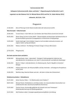 Kolloquium Kulturwissenschaft 2015
