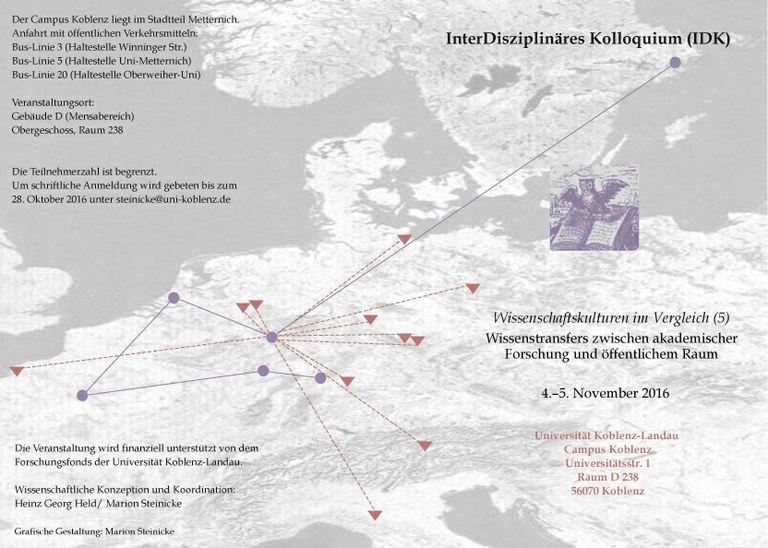 """Kolloquium: """"Wissenstransfers zwischen akademischer Forschung und öffentlichem Raum"""""""