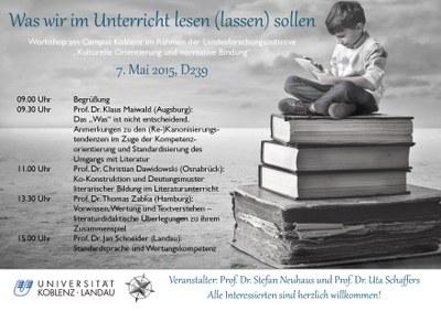 Literaturwissenschaftliche Ringvorlesung: Was wir lesen sollen. Lektüreempfehlungen für das 21. Jahrhundert