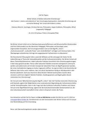 """Winter School: """"Praktiken kultureller Orientierung"""" des Clusters I """"Kultur und Lebensform"""" des Forschungsschwerpunktes """"Kulturelle Orientierung und normative Bindung"""" der Universität Koblenz-Landau"""