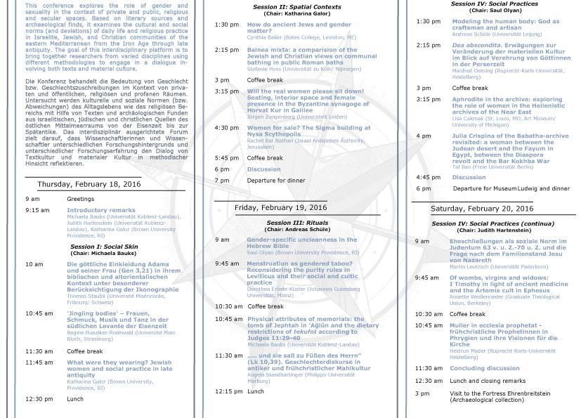 """""""Geschlecht und soziale Normen im alten Israel, antiken Judentum und antiken Christentum. Texte und materiale Kultur im östlichen Mittelmeerraum"""""""