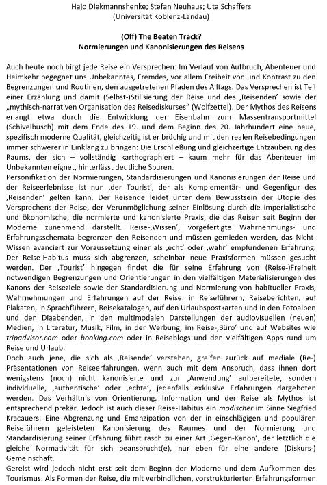 """""""(Off) The Beaten Track? Normierungen und Kanonisierungen des Reisens"""" + Call for Papers"""