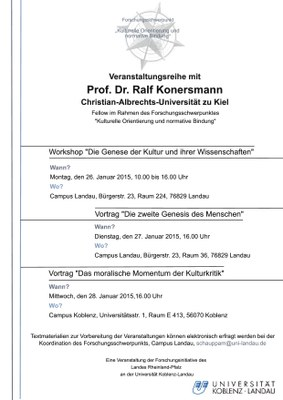 """Vortrag: Prof. Dr. Ralf Konersmann """"Das moralische Momentum in der Kulturkritik"""""""