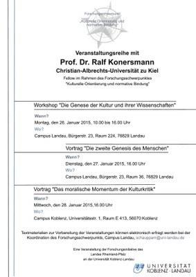 """Vortrag: Prof. Dr. Ralf Konersmann""""Die zweite Genesis des Menschen"""""""