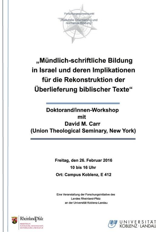 """""""Mündlich-schriftliche Bildung in Israel und deren Implikationen für die Rekonstruktion der Überlieferung biblischer Texte"""""""