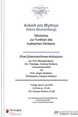 "Workshop: ""Arbeit am Mythos (Hans Blumenberg)"""