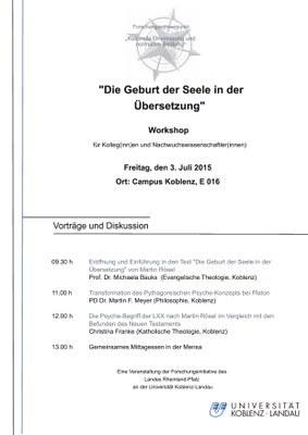 """Workshop: """"Die Geburt der Seele in der Übersetzung"""""""