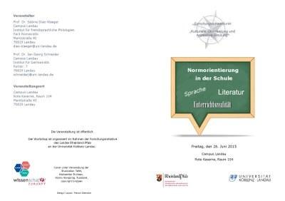 """Workshop """"Normorientierung in der Schule: Sprache, Literatur, Unterrichtsrealität"""""""