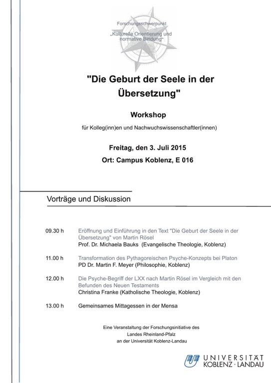 """""""Zur Frage nach der """"Seele"""" am Beispiel von AT, NT und der griechischen (vor)klassischen Literatur"""""""