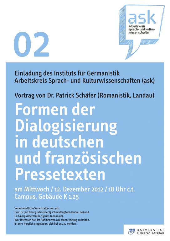 Ask-Vortrag: Dr. Patrick Schäfer: Formen der Dialogisierung in deutschen und französischen Pressetexten