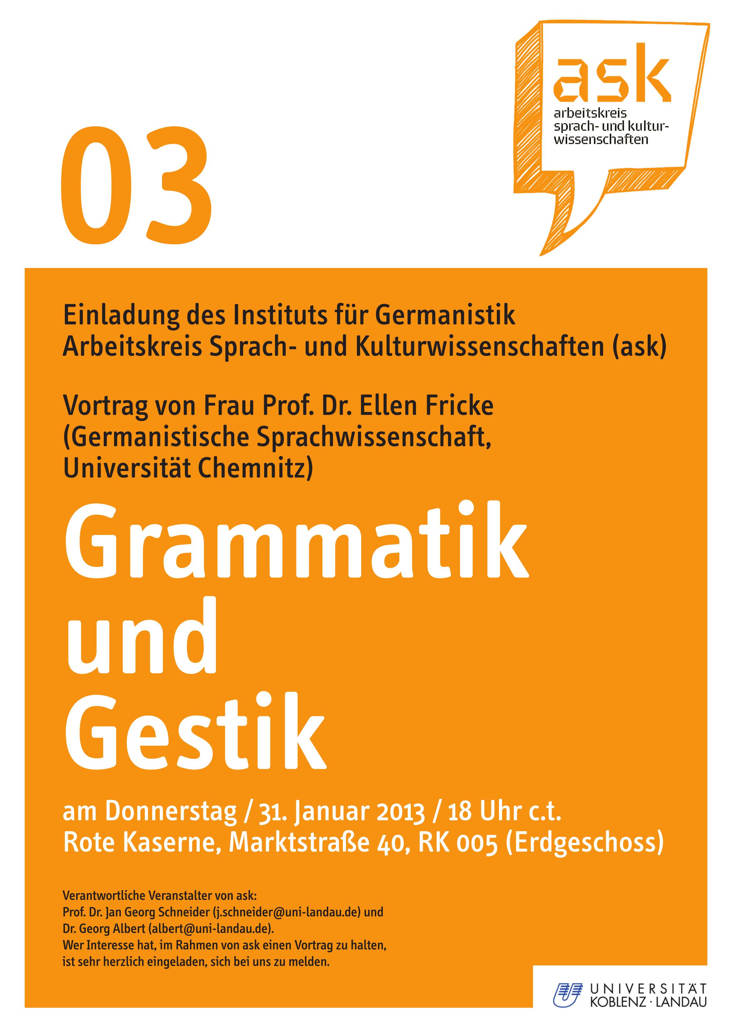 Ask-Vortrag: Prof. Dr. Ellen Fricke: Grammatik und Gestik